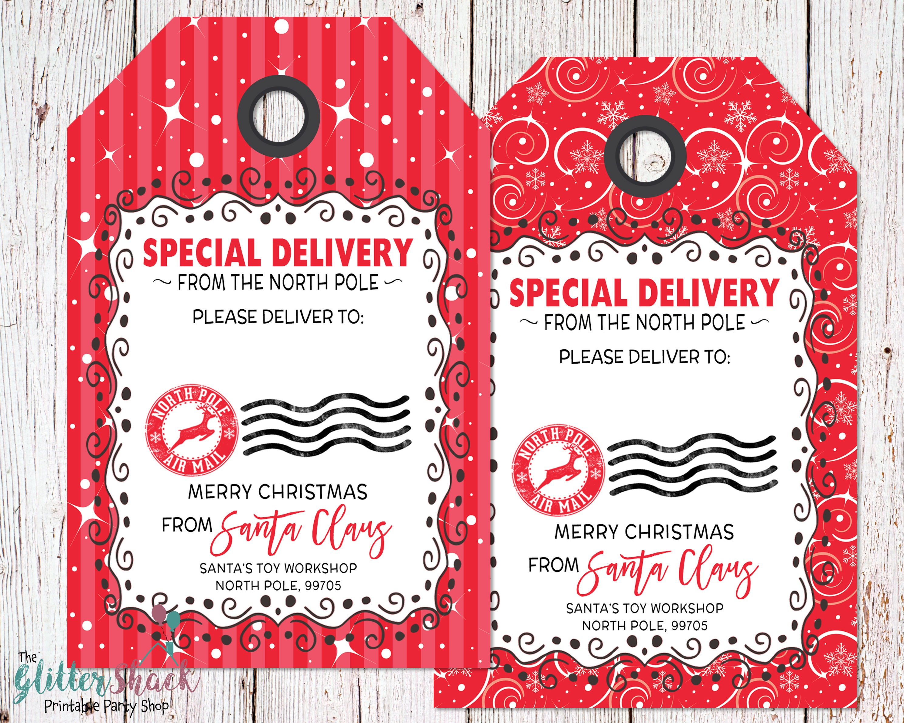 Zany image regarding printable santa tags