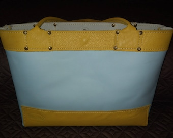 Sky and Yellow Leather Tote