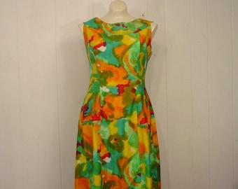 Vintage Dress, 1960s Hawaiian dress, abstract print, made in Hawaii, vintage clothing, Medium