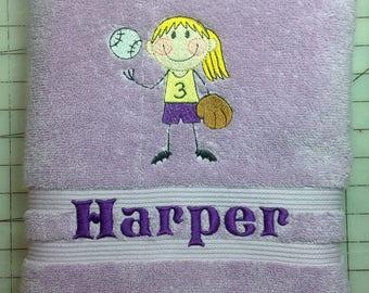 Personalized kids bath towel, custom bath towel, name on towel, sports towel, Christmas and birthday gift idea for kids,