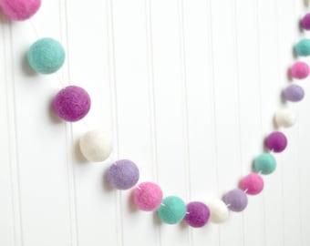Birthday Felt Ball Garland, Girl Pom Pom Garland, Pink and Purple Garland, Baby Girl Decor, Baby Shower Decoration, Frozen Birthday Banner