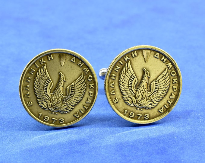 Phoenix Coin Cufflinks, Greece 1 Drachma Coin, Phoenix, Silver Plated Cufflink Base, Mens Jewelry, Gift Box Included, Handmade Jewelry, 1973