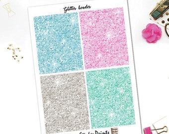 25% OFF SALE Spring Season Glitter header Stickers/Pink Mint Blue Glitter Header Stickers/Glitter Headers for Erin Condren Lifeplanner/