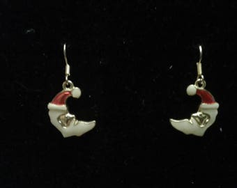 Crescent Cloisonne Santa Claus Earrings