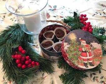 Chocolate Fudge in a Christmas Tin, Nut Free Chocolate Fudge, Fudge in a Santa Claus Gift Box, Chocolate Christmas Candy, Corporate Gift