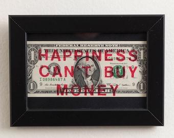 FREE SHIPPING: Framed Money Art - Dollar Artwork in Black Frame