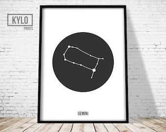 Gemini Print, Zodiac Constellation Print, Scandinavian Poster, Geometric Printable, Nursery Print, Gemini Art, Birthday Gift, Zodiac Print
