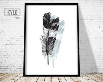 Feather Print, Printable Art, Wall Art, Office Decor, Instant Download, Home Decor, Feather Art, Digital Download, Feather Printable, Gift