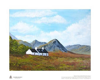 Limited Edition Print of my oil painting of Blackrock Cottage, Glencoe, Scottish Highlands, Edition limited to 50 Size 500mm x 400mm