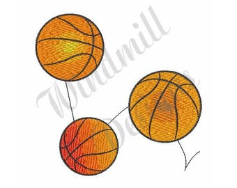 Bouncing Basketballs - Machine Embroidery Design