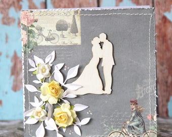 Wedding card in grey tones