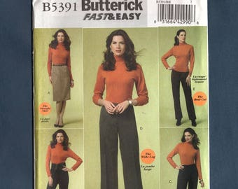 Butterick 5391, Misses Straight Skirt, Pants Skinny Leg Wide Leg Boot Cut Straight Leg, Sewing Pattern Fast and Easy Size 8-10-12-14