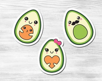 Kawaii Avocado Family Vegan/Vegetarian Stickers Mr. Avocado Mrs. Avocado Little Girl Avocado