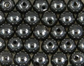 #25101-10 diameter 6 mm hematite round beads