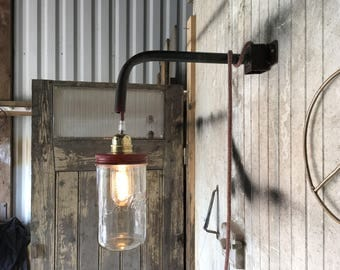 Pendant lamp in steel and glass