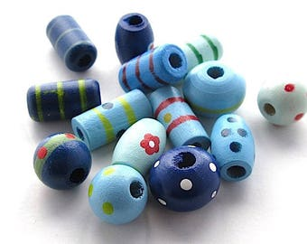 lot set of painted wooden beads.