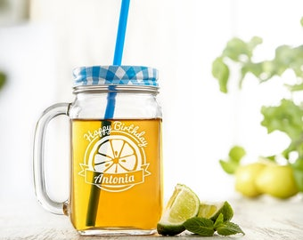 Lemonade Jar With Lid, Handle And Straw - Beautifully Etched - Lemon - Happy Birthday - Personalised With Name Of Your Choice