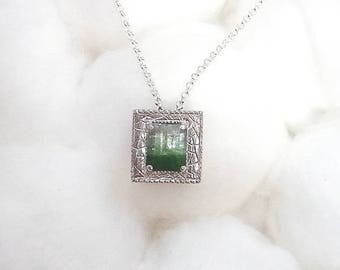 Tormalindby color silver pendant /tourmaline bicolor silver pendant