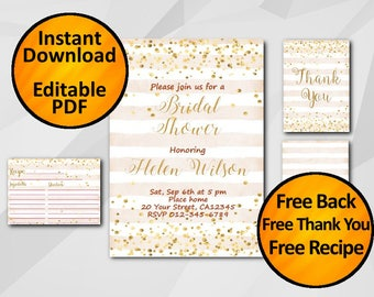 Bridal shower invitation Instant Download SALE 60% OFF free recipe free thank you free back confetti peach stripped editable X325ps4