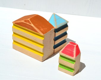Wooden toys, Miniature houses, Wood village skyline, Wooden blocks, Set of 3 wood toys, Waldorf and Montessori inspired toys, Birthday gift