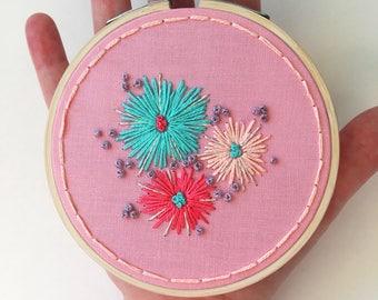 Boho embroidered wall art, bright embroidery, boho hanging wall art, floral wall art, Wedding gift, bridesmaid gift