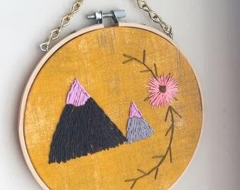 Mountain art, mountain wall hanging, boho wall art, boho wall art, embroidered wall art, the mountains are calling,