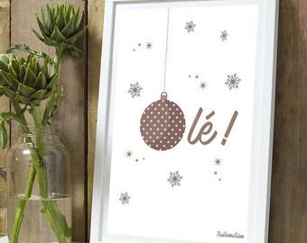 Christmas * poster Olé ball Noël A4 unframed