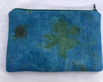 Eco printed zippered pouch