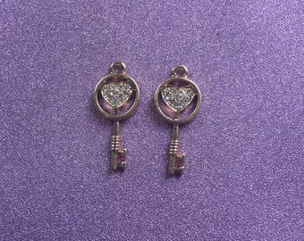 2 Gold plated Key charms with Rhinestones