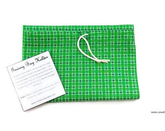 Grocery Bag Holder, Green Plaid, Fabric Storage, Home Organization, Pantry, Kitchen, Unique Gift, Housewarming Present, Gifts under Ten
