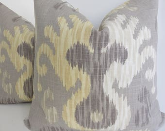 Grey Yellow Pillow Cover - Yellow Pillow cover- Grey Pillow Cover- Ivory Pillow Cover- Decorative Pillows- Grey Yellow Ivory Pillow Cover