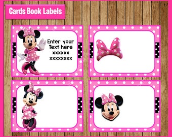 Pink Minnie mouse Printable Cards, tags, book labels, stickers, kids cards, gift tags, labeling, scrapbooking EDITABLE INSTANT DOWNLOAD