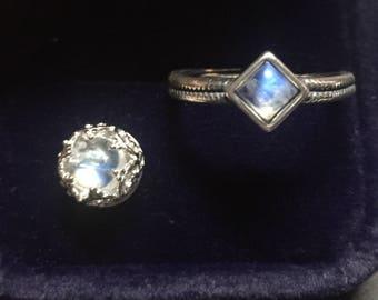 6MM Moonstone pendant and ring Set Sterling Silver, crown shape, Blue moonstone, Rainbow moonstone