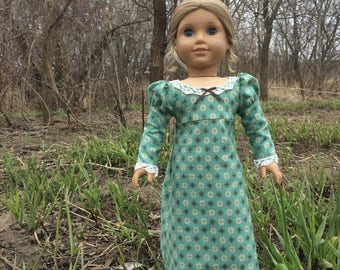 Long-sleeve Regency Dress for 18'' dolls like American Girl Caroline & Josefina