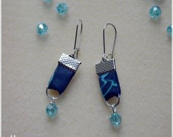 African fabric earrings Blue Navy