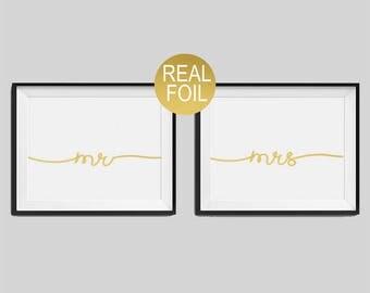 "Real Foil Print, ""Mr"",""Mrs"", Wedding Prints, Wedding Gifts, Gold Wedding Decor, Gold Bedroom Print, Mr & Mrs Print"