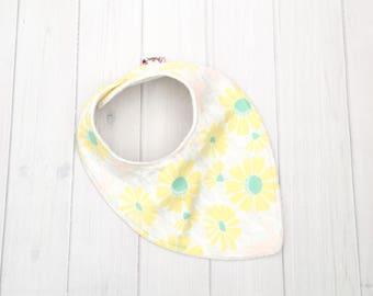 Floral Dribble Bib, yellow bib, Yellow floral baby bib, teething baby, teething bib, baby accessories