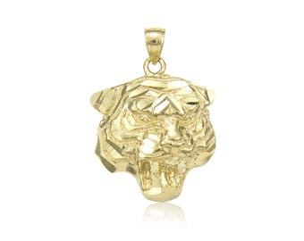 14K Solid Yellow Gold Tiger Head Pendant - Face Diamond Cut Necklace Charm