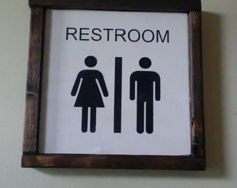 Restroom Sign. Wooden Bathroom decor