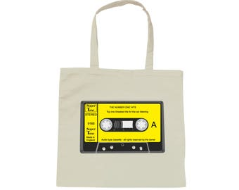 Tote bag white bag Cassette Audio Vintage - K7