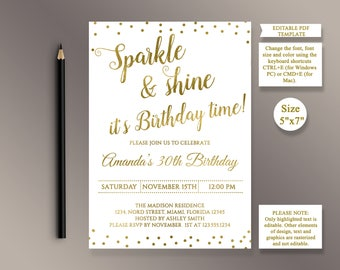 Invitation Template Etsy - Digital birthday invitation template