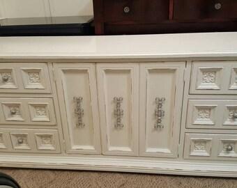 Distressed Credenza Dresser long dresser 9 drawer dressers