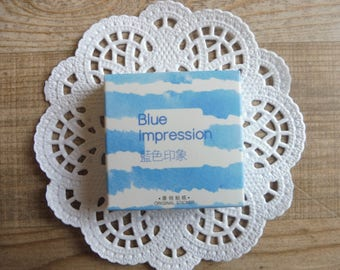 Stickers 45-piece set in assorted designs blue impression number (9)