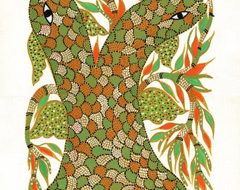 Snakes, Gond Artwork, Original Acrylic.