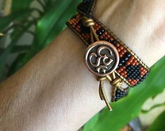 Handmade Navajo Style Beaded Bracelet / Hatband / Choker / Headband with a Copper Ohm Button Clasp