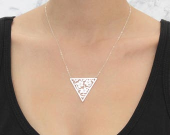 Lace necklace, Silver Floral Triangle, Short