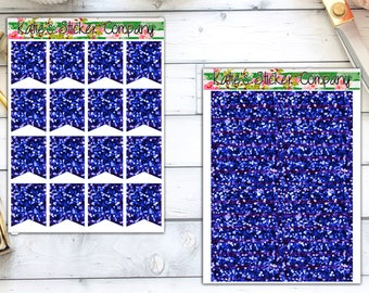 Blue Glitter Headers and Flags