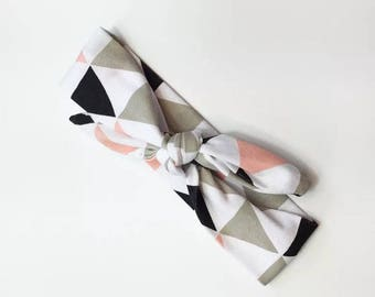 Hairband - diy hair accessory - modern style - baby girl - toddler hair band - cotton - black pink and white