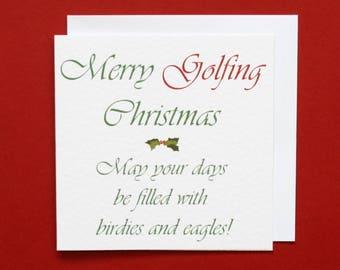 Golf Christmas card, Merry Golfing Christmas, golf Xmas card, birdies and eagles, golf card,
