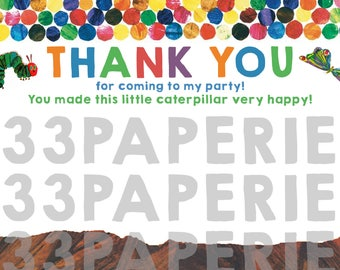 Hungry Caterpillar Thank You Cards - Digital or Printed Cards